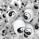 Yin-yang balloons. 3D render of balloons with yin-yang harmony symbol Royalty Free Stock Photography