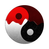 Yin yang in blood. Yin yang symbol covered with blood, illustration Royalty Free Stock Photography