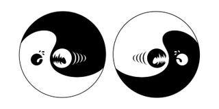 Yin Yang brachte aus dem Gleichgewicht Stockfoto