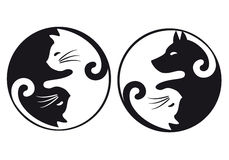 Yin yang cat and dog, vector set Stock Images