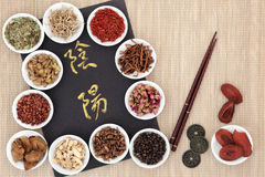 Yin and Yang Chinese Herb Selection Stock Images