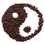 Yin and yang of the coffee beans. Isolated object. White background Stock Photo