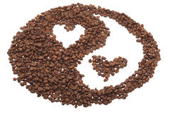 Yin and Yang from coffee with hearts. Isolated object Royalty Free Stock Image