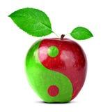 Yin Yang-Collage vom Apfel Stockbilder