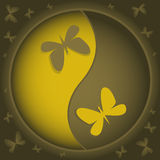 Yin-yang con le farfalle Immagine Stock Libera da Diritti