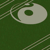 Yin-Yang crop circle. Yin yang symbol cut into a field Stock Image