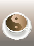 Yin Yang. A cup of coffee. Royalty Free Stock Images