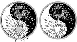 Yin & Yang - dag & natt stock illustrationer