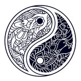 Yin and yang decorative symbol. Hand drawn vintage style design Royalty Free Stock Image
