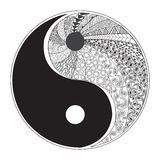 Yin and yang decorative symbol. Hand drawn zentangle style design Stock Photo