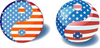Yin yang della bandierina degli S.U.A. Fotografia Stock