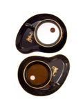 Yin Yang die van twee koffie c wordt gemaakt Royalty-vrije Stock Afbeeldingen