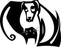 Yin Yang Dog en Kat Royalty-vrije Stock Foto