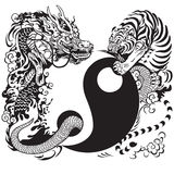 Yin yang with dragon and tiger. Yin yang symbol with dragon and tiger fighting, black and white tattoo illustration stock photography