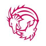 Yin Yang Dragon und Wolf Icon lizenzfreie stockbilder