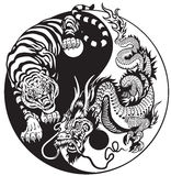Yin yang drake och tiger royaltyfri illustrationer