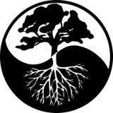 Yin Yang drzewo w kontrascie czarny i biały ilustracja wektor