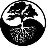 Yin Yang drzewo w kontrascie czarny i biały Zdjęcie Stock