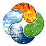 Yin Yang 4 elementos florales Fotografía de archivo
