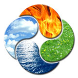 Yin Yang 4 Elements floral Stock Photography