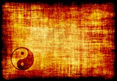 Yin Yang Engraved on a Parchment. Background Royalty Free Stock Images