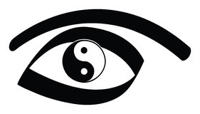 Yin yang eye. Yin yan eye on a white background Stock Images
