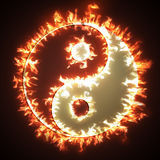 Yin and Yang on fire Royalty Free Stock Photos