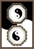 Yin Yang Frame_eps. The Eight Diagrams in Chinese mythology with Yin Yang Frame. Black and white background frame design Royalty Free Stock Photo