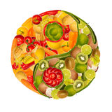 Yin-yang of fruits and vegetables. Symbol of yin yang with fruits and vegetables Royalty Free Stock Photography