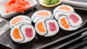 Yin yang futomaki with tuna and salmon Stock Photo