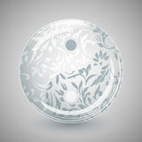 Yin Yang in glass sphere with floral pattern Stock Image