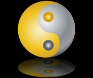 Yin and yang  gold and silver black background Stock Photography