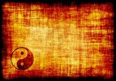 Yin Yang gravado em um pergaminho Imagens de Stock Royalty Free