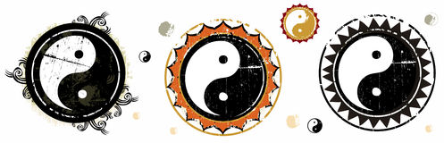 The Yin and Yang grunge signs. Dual Concepts Of Yin And Yang Describes Two Primal Opposing But Complementary Cosmic Forces. To see similar illustrations please Royalty Free Illustration