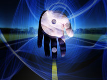 Yin Yang Hand. On a road. This image created in entirety by me and is entirely owned by me and is entirely legal for me to sell and distribute. Human elements Stock Photos