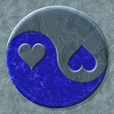 Yin-yang heart symbol with seamless generated texture background Royalty Free Stock Images