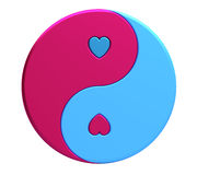 Yin-yang with hearts Stock Photo