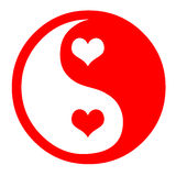 Yin Yang With Hearts. Asian Yin Yang Symbol In Red With Hearts Royalty Free Stock Image