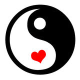 Yin Yang With Hearts. Asian Yin Yang Symbol In With Heart, White Background Royalty Free Illustration