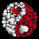 Yin-yang with hearts Stock Photos