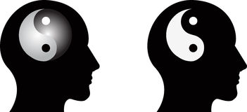 Yin yang and human head. The mind ruled by yin yang Stock Image