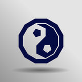 Yin Yang icon. Blue Yin Yang icon button logo symbol concept high quality on the gray background Stock Photography