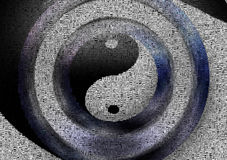 Yin - Yang. Image composed entirely of words, text Stock Image