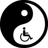 Yin Yang isolated in white. Yin Yang rustic texture on dirty background Ancient with wheel chair for Oriental medicine chinese healthcare Royalty Free Stock Photos