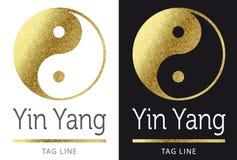 Yin yang logo. In bright golden Stock Photography