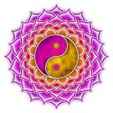 Yin Yang Lotus. Illustration of a yin yang symbol Stock Image