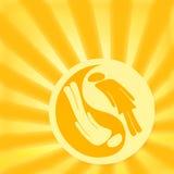Yin Yang Love. Yin Yang symbol on shining background, man and woman relationship concept Stock Photography
