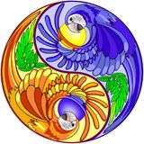 Yin Yang Macaw Parrot Sign. Decorative Yin Yang Composed by two Exotic Macaw Parrots instead of classic black and white sign. The Two sides of the Yin Yang have Stock Photos