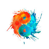 Yin and Yang made of colorful splashes Stock Image