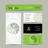 Yin Yang made from yoga asana. Set of business Royalty Free Stock Photography